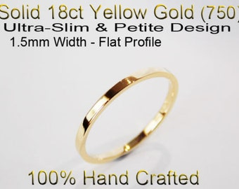 18ct 750 Solid Yellow Gold Ring Wedding Engagement Friendship Friend Flat Band 1.5mm