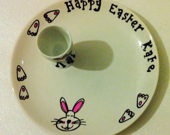 Easter plate and egg cup set