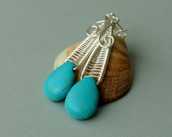sterling silver wire teardrop earrings with turquoise howlit