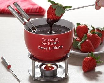 You Warm My Heart Personalized Fondue Set