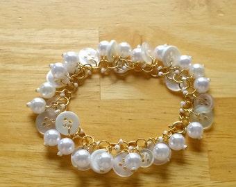 Pearl & Button Charm Bracelet