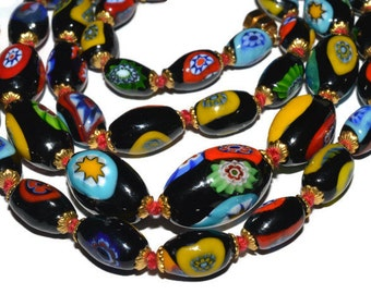 Vintage millefiori necklace 28'', vintage graduated colorful glass bead necklace, long glass beaded necklace