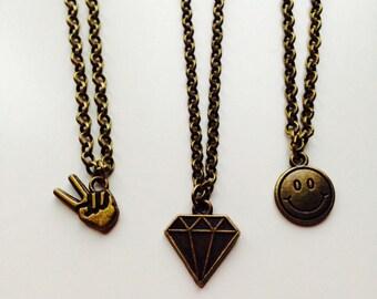 90s Old School Diamond Smile Peace Necklace