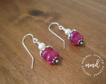 Ruby Moonstone, Freshwater Pearl and Sterling Silver Short  Dangle Earrings