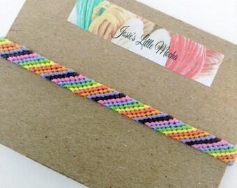 Candy Stripe Friendship Bracelet / Colorful Bracelets / Slant line bracelet / simple bracelet / summer accessory / Embroidery floss Bracelet