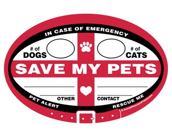 SAVE MY PETS - In Case of Emergency - Pet Rescue Alert - Euro Pet Decal 4x6 Oval - Removable Outdoor Vinyl Sticker - Pet Dog Lover Gift