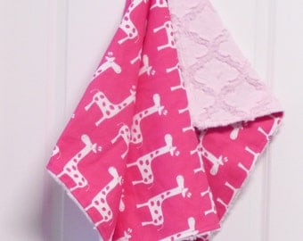 READY TO SHIP - Fuchsia Giraffe Baby Blanket -  Premier Prints- Minky Blanket ,Travel Blanket, lattice minky, security blanket, car seat
