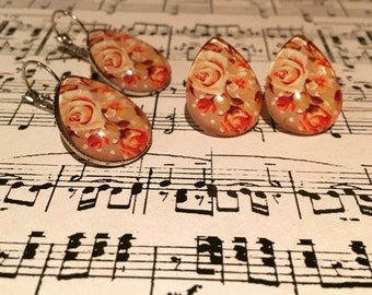 Vintage Floral Teardrop Earrings - Teardrop Earrings - Vintage Earrings - Flower Earrings