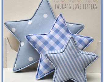 Fabric shapes, stars, padded,  baby room, nursery, baby gift, baby shower, padded letters, wall art,