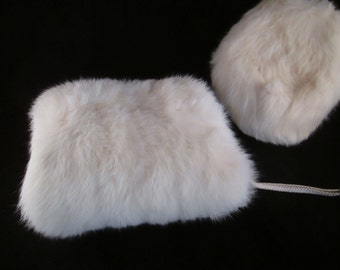 A Girl's Rabbit Fur Hand Muff. Great Hand Wamer for a Flower Girl in a Winter Wedding.