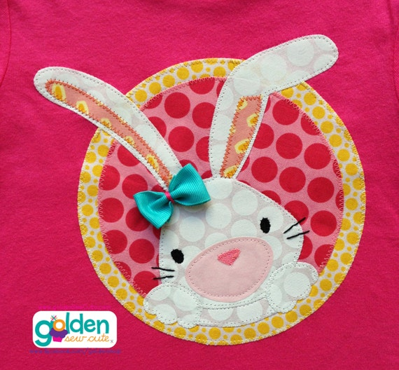 Easter Bunny with bow Circle, Girl Spring Tee