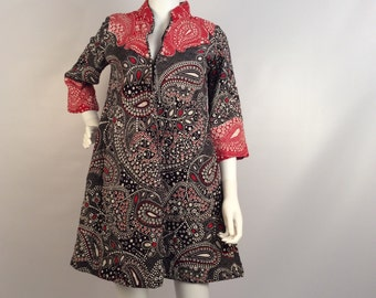 Vintage dress, quilted dress, red and blue paisley dress, 60's overcoat/dress