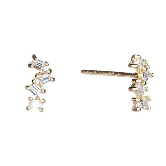 Baguette Earrings Cubic Zirconia CZ Earrings Sterling Silver Diamond Earrings Crystal Earrings Rhinestone Earrings Baguette Studs