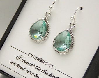 Silver Green Earrings, Bridesmaid Earrings, Wedding Jewelry, Soft Green, Erinite, Prasiolite, Wedding, Bridesmaid Jewelry, Bridesmaid Gifts