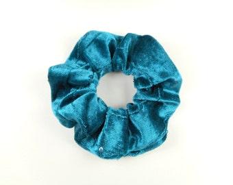 Scrunchie, scrunchies, tie hair, turquoise velvet