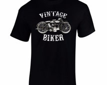 Men's Vintage Biker T Shirt Retro Motorbike Tee Motor Cycle T shirts