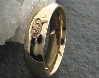 Scottish wedding ring, 18ct yellow gold handmade 6mm band for a man or woman.