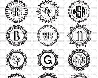Circle Monogram frame  SVG files.  12 SVG  digital graphics, 1 PNG 300dpi  instant download. Printable. Id#mf4