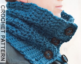 Crochet Cowl Pattern - Totally Sweet Cowl Crochet Pattern - Crochet Scarf Pattern - Button Cowl Pattern - Easy Crochet Pattern -  Adult Size