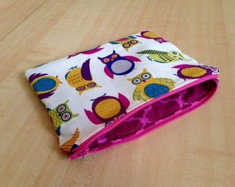Owls Zipper Pouch / Cosmetic Bag / Animals / Eclectic / Colorful