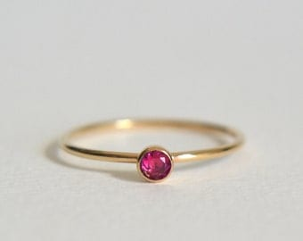 Gold Ruby Ring, Gold Filled Ruby Ring, Ruby Ring Gold, Stacking Ring, Dainty Ring, Stackable Ring, Gold Ruby Stacking Ring
