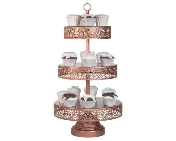 rose gold 3 tier cupcake stand antique cake by platinumhomedesigns. Black Bedroom Furniture Sets. Home Design Ideas