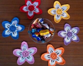 6 x Crochet Mini Doilies - Stars Applique  - Home decor -  Multicolored crochet doilies - Handmade - Table decor