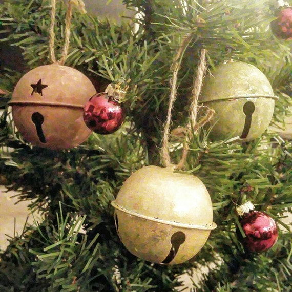 Rustic Christmas Decoration Jingle Bells By CraftyCatCanvases
