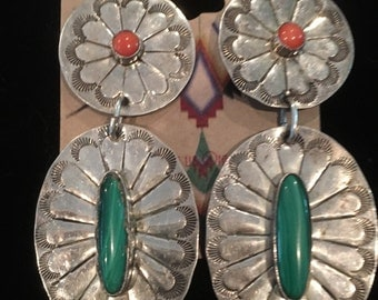Navajo Sterling silver Malachite & Coral Earrings Signed Yazzie
