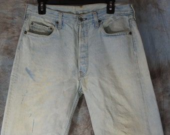 34W x 33L Levis 80's Stone Washed Vintage LEVI'S 501 - measurements are listed in detail. Stock No 324
