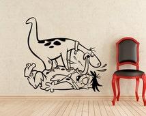 Fred Flintstone Wall Sticker Flintstones Dino Cartoon Vinyl Decal Home Interior Kids Room Mural Art Decoration Design (374z)