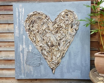 Canvas filler technology in concrete look with Driftwood heart