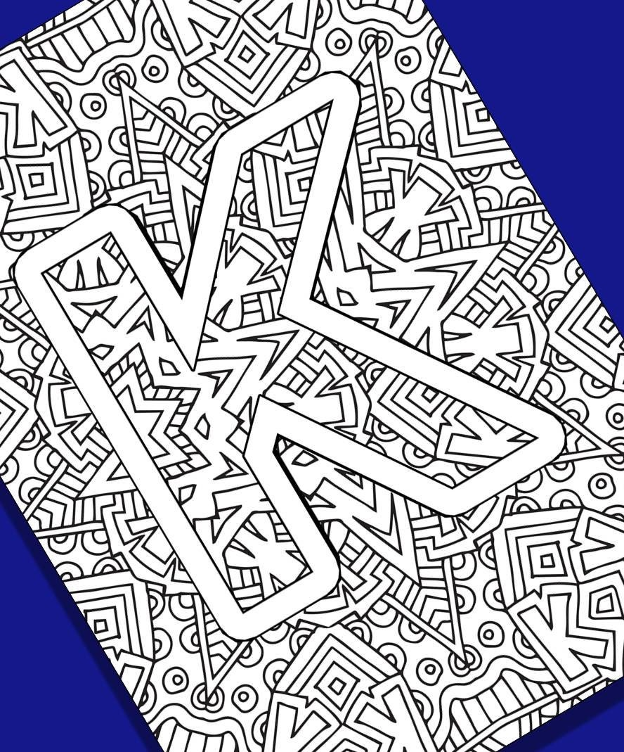 alphabet coloring pages instant download letter k from