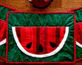 Watermelon Placemats, Summer Table Linens, Hand Quilted Summer Placemats, BBQ Table Decorations, Party Table Decor, Summer Table Runner Gift