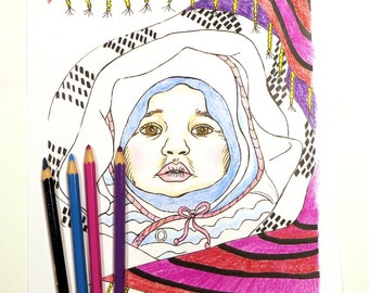Printable Coloring Book Page   Baby Coloring Page