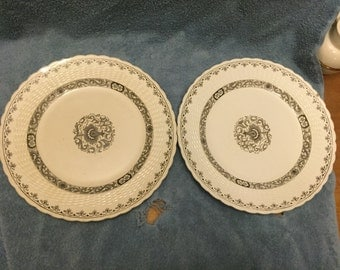 Pair of 1880s Mintons Ganges brown transferware dinner plates chipped