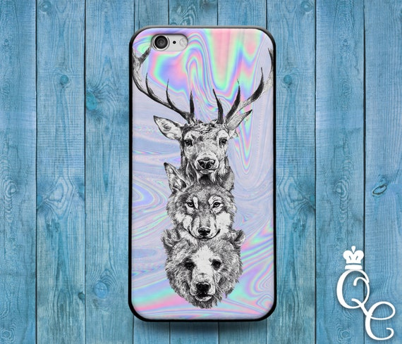 iPhone 4 4s 5 5s 5c SE 6 6s 7 plus iPod Touch 4th 5th Generation Cool Pastel Tye Dye Wild Animal Bear Wolf Deer Phone Cover Cute Custom Case