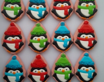 Cozy Penguin Cookies - One Dozen Decorated Christmas / Holiday Cookies