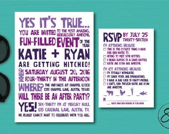 Fun PRINTED or DIGITAL Wedding Invitation Suite// Wedding Invitation and RSVP Card // Funny Wedding Invite and rsvp