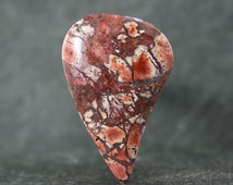 Brecciated Jasper Designer Cabochon, Rusty Red Freeform Cut, Subtle Hints of Pink & Black, Beautiful Loose Focal Stone, Jewelry, Collect