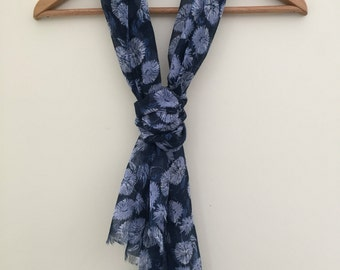Navy Blue and White Dandelion Print Scarf With Frayed Edges
