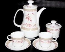 Vintage German Porcelain Cup and Saucer Set Colditz Inglasur GDR Porcelain Coffee Tea Pot Freiberger porcelain Vintage porcelain collection