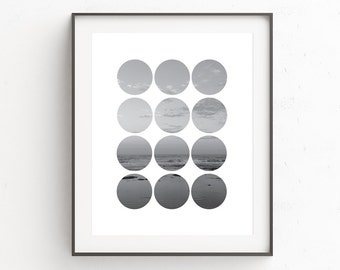 Beach House Wall Print, Affiche, Monochrome Wall Poster, Black and White Photo, Affiche Scandinave, Beach Photography, Circle Photo, Artwork