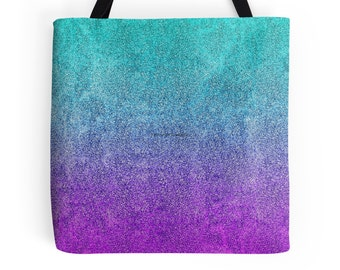 Tropical Twilight Glitter Gradient Tote Bag, 3 Sizes Available!
