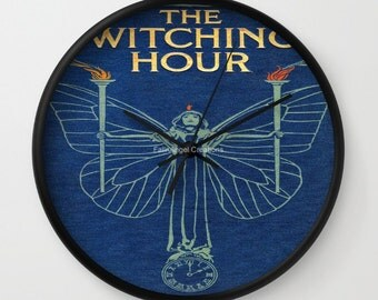 The Witching Hour Book Cover Wall Clock, You Choose Frame & Hand Colors!