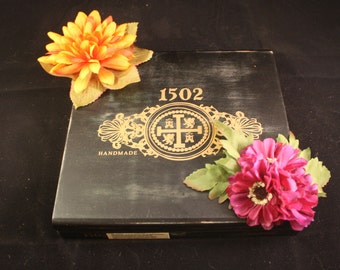 Wooden Cigar Box with Orange and Purple Flowers, Thin False Bottom Painted Green