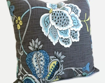French Country Cottage Pillow, Jacobean Pillow, Teal Aquamarine Blue Yellow Charcoal Gray Cushion Cover Decorative Floral Decor, Accent