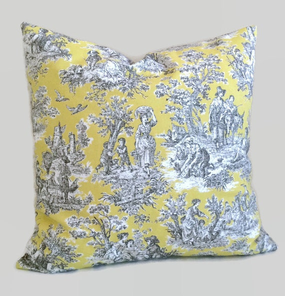 Toile De Jouy Pillow Yellow Gray Pillow Scenic Pillow