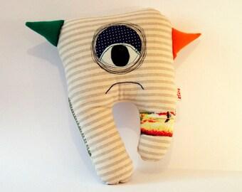 Boris-Cute Monster Plushie Toy-OOAK-Stuffed animal doll-Hug Stuffie Monster for kids or adults