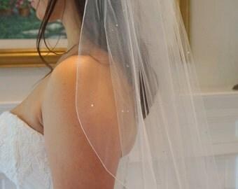 Katie, Elbow Length Veil, Pencil Edge Veil, Pearl Veil, Swarovski Crystal Rhinestone Veil, Bridal Veil, Custom-Made Veil, Made-to-Order Veil